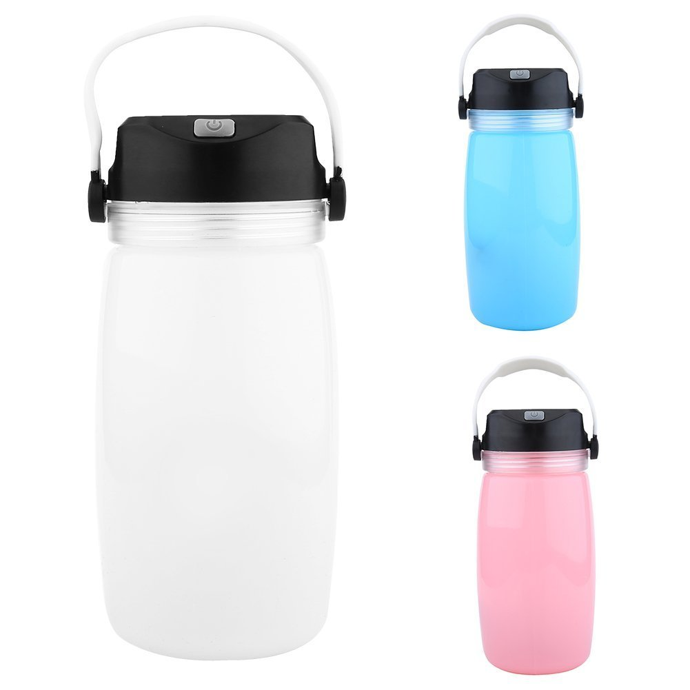 Solar Lantern Bottle LED Solar Bottle Lights - Collapsible Foldable Silicone Water Bottle Waterproof Rechargeable Camping Lantern LED Light with USB Cable for Camping, Garden, Party (White)