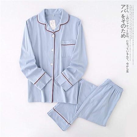 HIUGHJ Pijamas Color Puro 100% algodón Pijamas Conjunto otoño Nuevo Conjunto Pareja Pijama Invierno Mujer Pijamas de Manga Larga Ropa para el hogar Mujeres: Amazon.es: Hogar