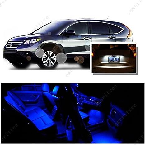 Ameritree Honda CRV 2013 en adelante (10 piezas) azul LED luces interior paquete y blanco LED placa de matrícula Kit: Amazon.es: Coche y moto