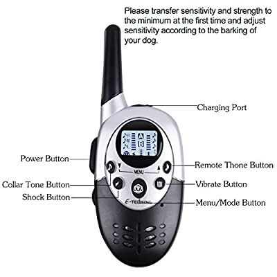 E-TECHING 1100 yard Remote 2 Dog Electronic Training Collar Waterproof and Rechargeable E-collar with Beep / Vibration / Shock Electric Collar