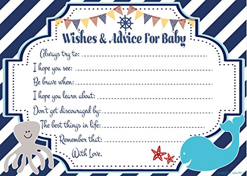 Nautical Wishes and Advice for Baby Cards 50 Count - Baby Shower Game