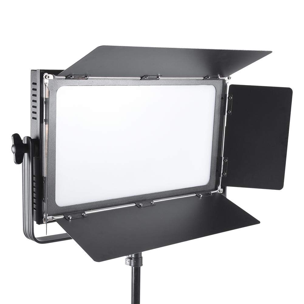 LED Video Light, Dimmable Bi-Color 100W Photography Stepless Adjustable Fill Light with Metal Baffles for Portrait, Studio, Outdoor, Video Lighting Kit, 3200K-5700K, CRI 95+(US Plug) by Serounder
