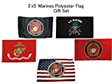Wholesale Lot of 5 EGA, USMC Red Emblem, Marines Mess With The Best, Black USMC Emblem, and USA Marines Emblem 3'x5' Polyester Flag Gift Set