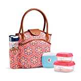 Fit & Fresh Insulated Lunch Bag Kit, includes BPA-Free Container Set, Sumter Coral Star Blooms