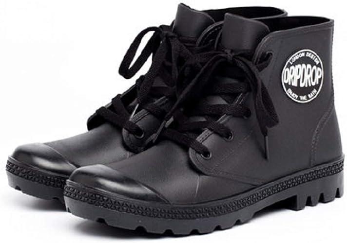 DKSUKO Women/'s Rain Boots Waterproof High Top Rain Shoes with Lace Up Anti-Sl...