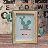 Easyflower Add Much Fun Creative Cactus Photo Frame Resin Home Decoration Photo Frame with Mirror Multi-Function Photo Frame_Wood Color