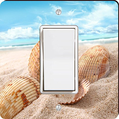 Rikki Knight Seashells in Sand on Beach Single Rocker Light Switch ()