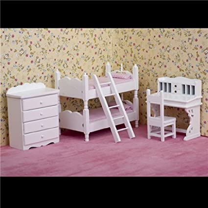 Dollhouse Miniature 6-Pc. White Bunk Bedroom Set with Pink Bedding