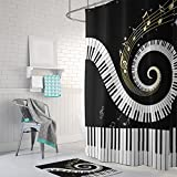 Beautiful Gwein Music Musical Notes With Piano Decorative Bathroom Mildew Resistant  Fabric Shower Curtain Waterproof/Water