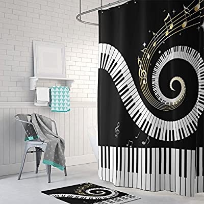 "Gwein Music Musical Notes With Piano Decorative Bathroom Mildew Resistant Fabric Shower Curtain Waterproof/Water-Repellent & Antibacterial Shower Room Decor Shower Curtains 66"" x 72"" - LOW MAINTENANCE: This shower curtain resists creasing and shrinking. Machine washable and can be put in the dryer. It is quick drying seeing polyester does not absorb much moisture. This shower curtain is water proof and repels water. PREMIUM QUALITY: Made with 100% polyester. No PEVA or PVC material. High quality digital printing allows for many vibrant colors to be used and increases print longevity. Machine washable and durable. Reinforced buttonholes provide a secure and durable opening for hooks to be installed. WATER REPELLENT: This curtain's expertly manufactured fabric provides it with a firm yet smooth texture, which promotes water bead formation and prevents curtain soaking and bathroom floor messes. Small water beads form across the curtain, affording gentle water removal and swift curtain drying - shower-curtains, bathroom-linens, bathroom - 51eIDrMc2sL. SS400  -"