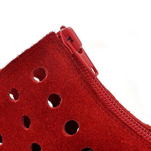 a rotonda Adee cinturino Zipper punta con rosso Ladies smerigliato Décolleté xZ0FzUwZ