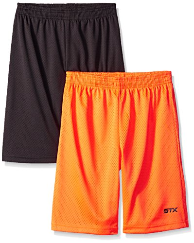STX Big Boys' Mesh Athletic Short, TY56-Charcoal/Orange, 10/12