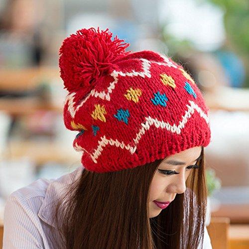 diseño el de y otoño Tapa Punto Blue de RED Lana Salvajes Color Maozi de Hechizo señoras Invierno nUX5qnI