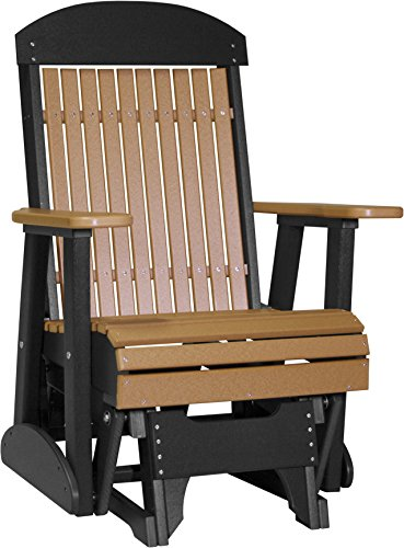 - Furniture Barn USA Outdoor High Back Glider Chair with Arms - Cedar and Black Poly Lumber - Recycled Plastic