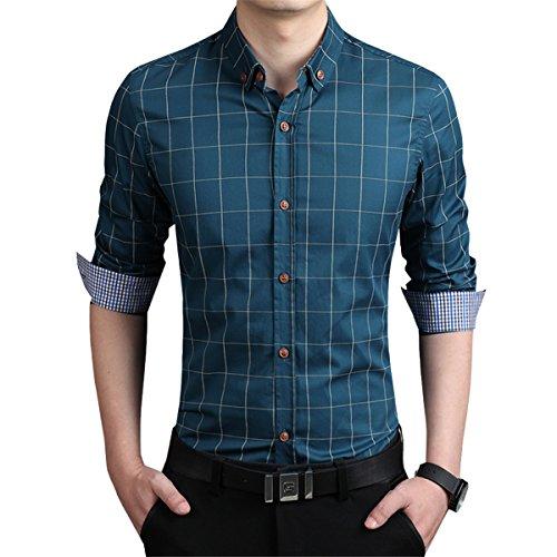 LOCALMODE Men's 100% Cotton Long Sleeve Plaid Slim Fit Button Down Dress Shirt (XXL, Acid Blue)