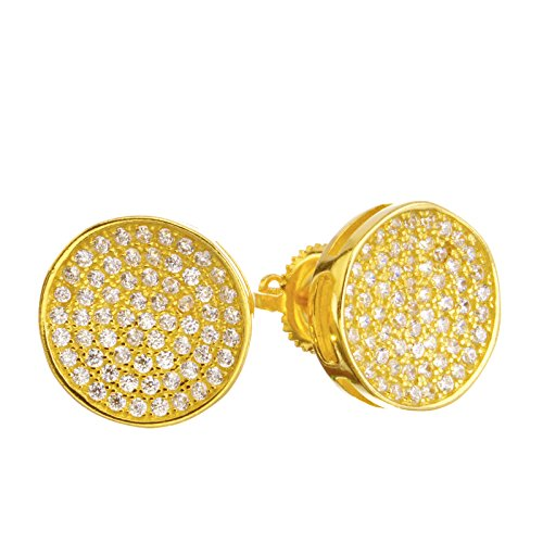 (Men's Iced CZ Gold Plated 3D Micro Pave 11 mm Round Screw Back Stud Earrings SHS 492)