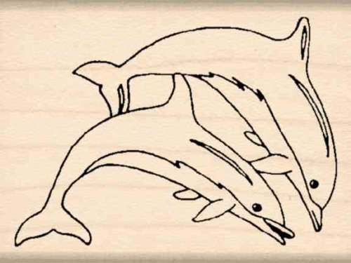 Dolphins Rubber Stamp - 1-1/2 inches x 2 inches