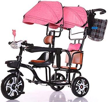 JHGK Triciclo Biplaza, Bicicleta Triciclo De Empuje A Dos Manos De Acero con Alto Contenido De Carbono Biplaza con Dosel Rosa Claro/Doble Barandilla, Tricycle para Niños,Negro