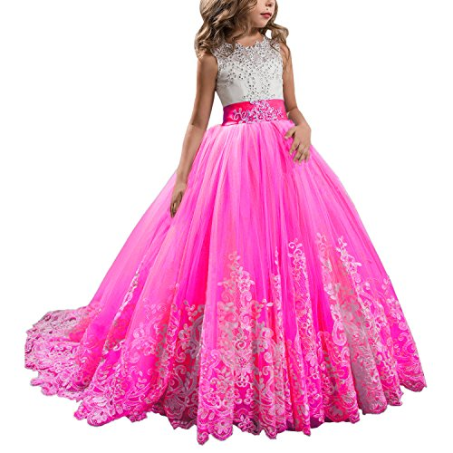 KSDN Hot Pink Lace Bodice Tulle Ball Gown Flower Girl Dresses Communion Gowns KN0001 (Child 14, Hot Pink) ()