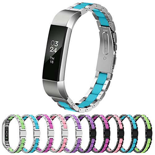 Greeninsync Fitbit Alta HR Metal Band, Special Pattern Fitbit Alta Stainless Steel Replacement Bands Adjustable Accessory Wristband Small/Large for Alta Fitness Tracker Women Men Girls Boys - (Special Metal)