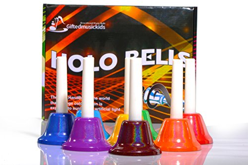 [GiftedMusicKids 13 Holographic Chromatic Hand Bell Set Diatonic Metal Bells for Children by] (Melody Costume)
