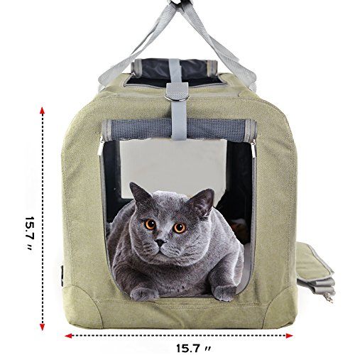 okdeals Premium Soft Sided Cat & Dog Carrier & Travel Crate - Easy to Fold, Strong Steel Frame, Comfy Plush Nap Pillow 4X Interior Room Airy Windows Sunroof Reduces (45 Lb Shoulder Pad)