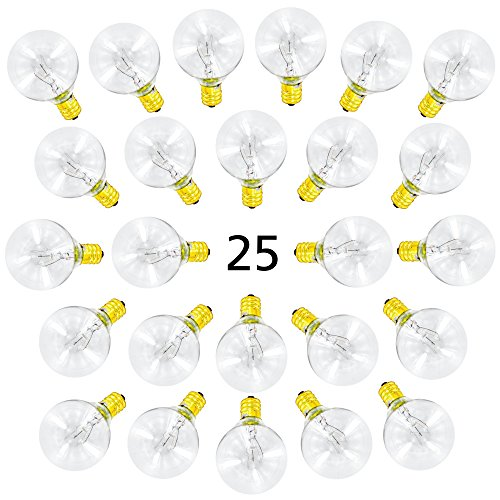 25 Pack of G40 Globe Light Bulbs for String Lights - Fits E12 and C7 Sockets - 5 Watt Replacement Clear Glass - Glasses For Replacement Parts