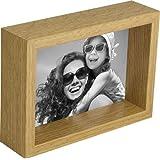 額縁 キャビネのサイズ,5×7インチ(13x18cm)のボックス写真フォトフレーム, オーク