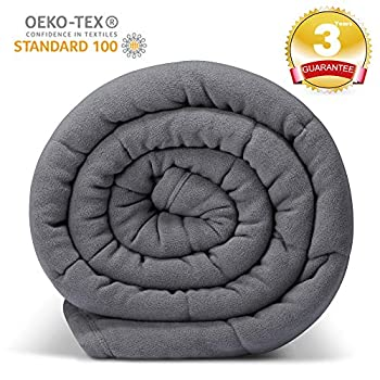 Image of Ultra Plush Fleece Grey Weighted Blanket , 1 Piece Construction, Minky Warm Luxury Heavy Blanket , 15 lbs for Adults About 130- 150lbs , 60''x80'' for Full Queen King Bed ESTEREL B07RPMKD67 Weighted Blankets