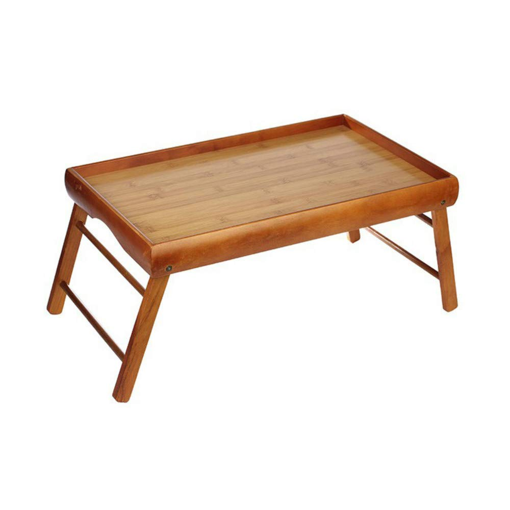 Desayuno de madera en cama bandeja plegable bandeja cama para servir multi función Lazy mesa plegable ordenador madera maciza cama almacenamiento portátil estudiante escritorio fácil de limpiar, marrón natural. 32d5a4