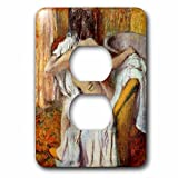 3dRose Degas Painting Woman Drying Herself - Image of Degas Painting Woman Drying Herself Semi Nude - Light Switch Covers - 2 plug outlet cover (lsp_255352_6)