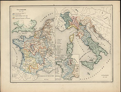 France Italy Sicily Champagne Normandy c.1870 antique hand color lithograph map