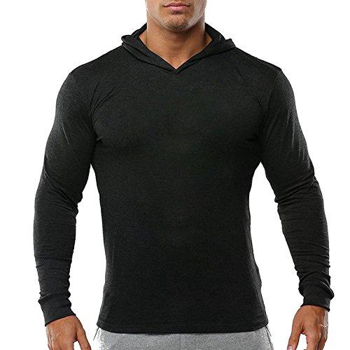 Slimbt Men's Bodybuilding Tapered Slim Fit Sweatshirts V Neck Active Hoodies Black 3XL