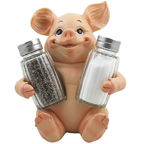 Decorative Pig Glass Salt And Pepper Shaker Set With Holder Stand In Farm Animal Figurines Sculptures Statues Or Rustic Country Kitchen Decor And
