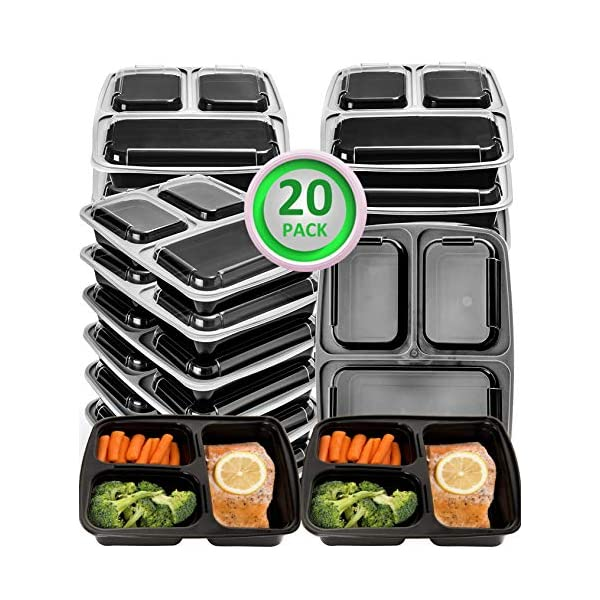 Meal Prep Containers Compartment Food Prep Containers Bento Box BPA-Free Food Storage Containers with Lids-Reusable Meal Prep Containers (Black 20-3) 51eIGdMWcxL