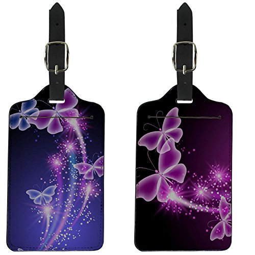 Coloranimal 2 Piece of Sets Purple Butterfly Pattern Luggage Tags Cover Case ()