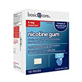 Amazon Basic Care Coated Nicotine Polacrilex Gum, 4 mg (nicotine), Ice Mint Flavor, Stop Smoking Aid, 160 Count