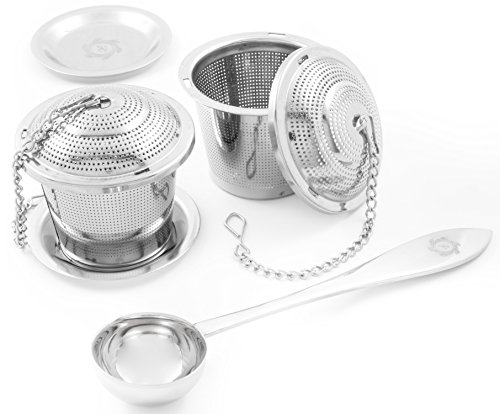 (2 Pack Ultra Fine Loose Leaf Tea Ball Infuser Strainer Steeper, Including Tea Scoop, Drip Trays, Long Chain Handle for Easy Brewing All Fine Teas, Spices and Seasonings.)
