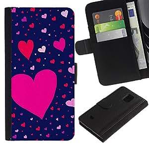 For Samsung Galaxy S5 Mini(Not S5), SM-G800 Case , Pink Blue Red Valentines Pattern - la tarjeta de Crédito Slots PU Funda de cuero Monedero caso cubierta de piel