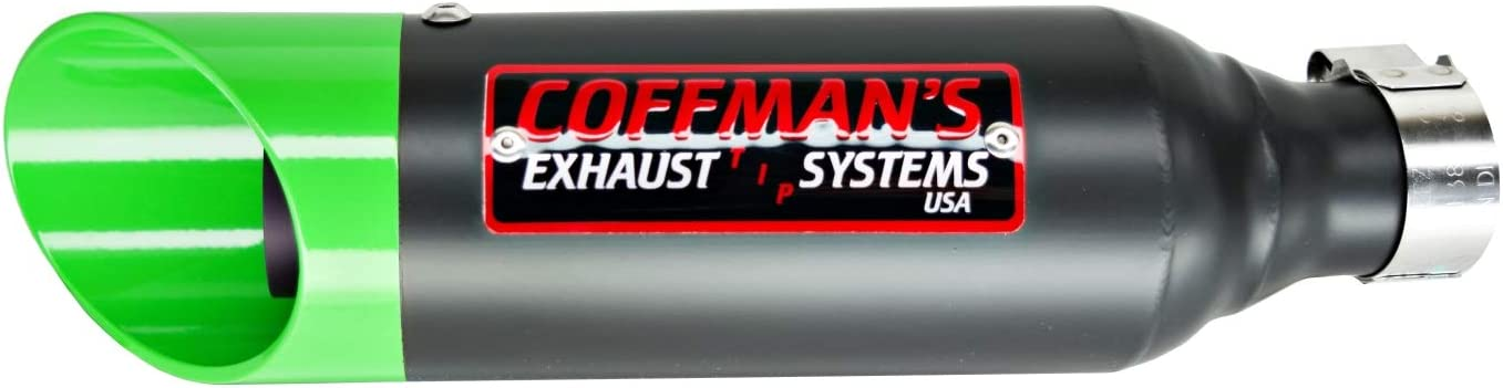 Coffman's Shorty Slip On Exhaust Muffler for Kawasaki Ninja 300 (2013-2017) Sportbike with Green Tip