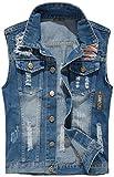 Camo Coll Men's Sleeveless Lapel Denim Vest Jacket (L, Denim Blue)