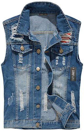 Camo Coll Men's Sleeveless Lapel Denim Vest Jacket (L, Denim Blue) by Camo Coll