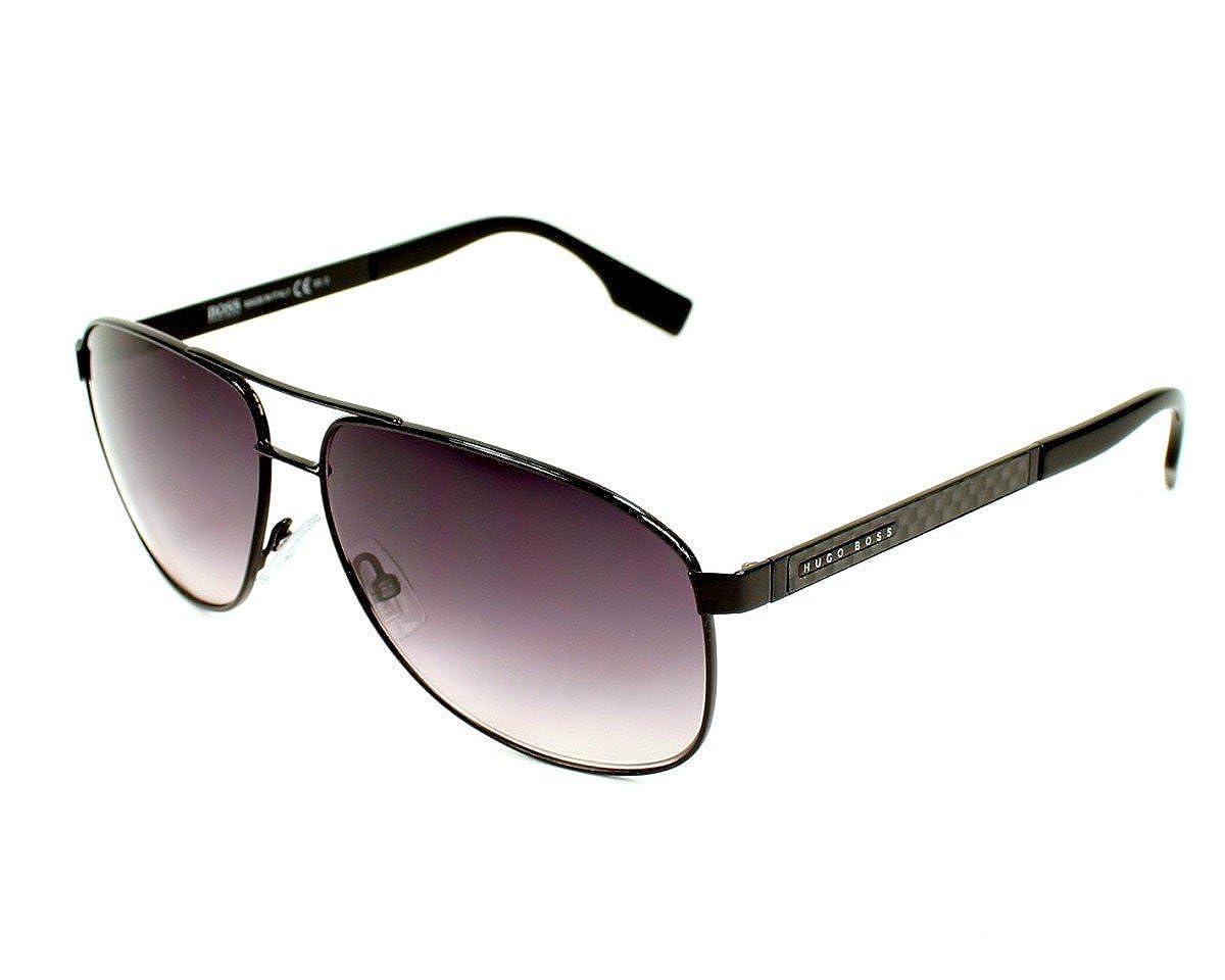 b31196a6906a Hugo Boss Men's 0442 Black / Carbon Fiber Frame/Dark Grey Gradient Lens  Metal Sunglasses: Amazon.co.uk: Clothing