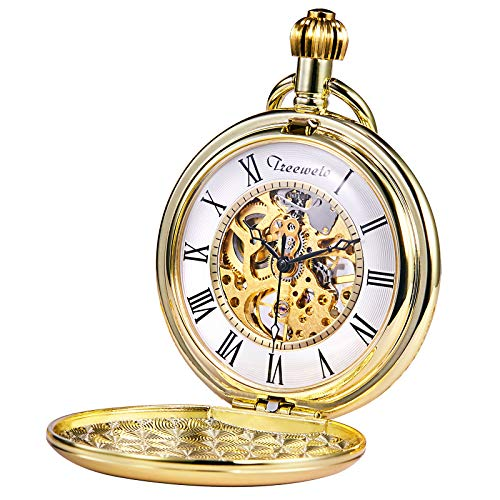TREEWETO Pocket Watch Gold Smooth Case Skeleton Dial Mechanical Movement with Chain + Gift Box