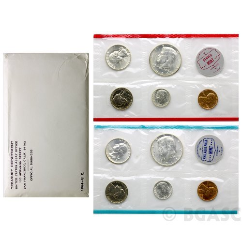 1964 Dime Us (1964 - 10 Coin Silver MINT SET P AND D MINTS)
