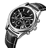 BUREI Mens Business Casual Elegant Chronograph Sports Watch with Black Dial and Genuine Leather Strap (black)