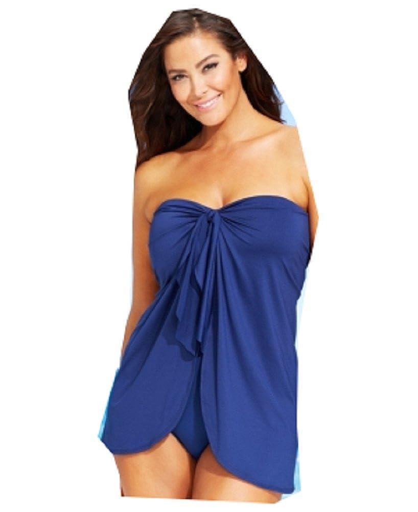 8ba1d2cd7bc1a Lauren Ralph Lauren Flyaway Tummy-Control One-Piece Swimsuit Plus Size  Indigo at Amazon Women's Clothing store: