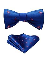 HISDERN Men's Flamingo Pattern Self Bow Tie And Pocket Square Set