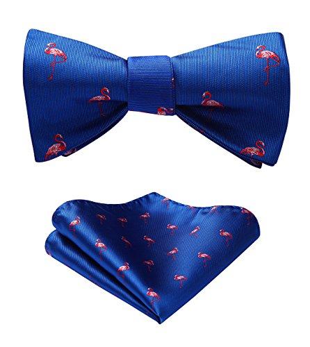 HISDERN Men's Flamingo Pattern Self Bow Tie And Pocket Square - Pattern Flamingo
