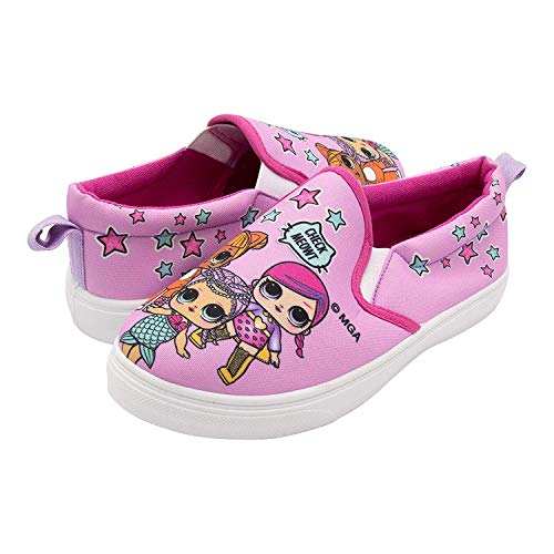 Girls Canvas Shoes - L.O.L. Surprise! Girls Slip-On Canvas Sneaker; Pink Size 2